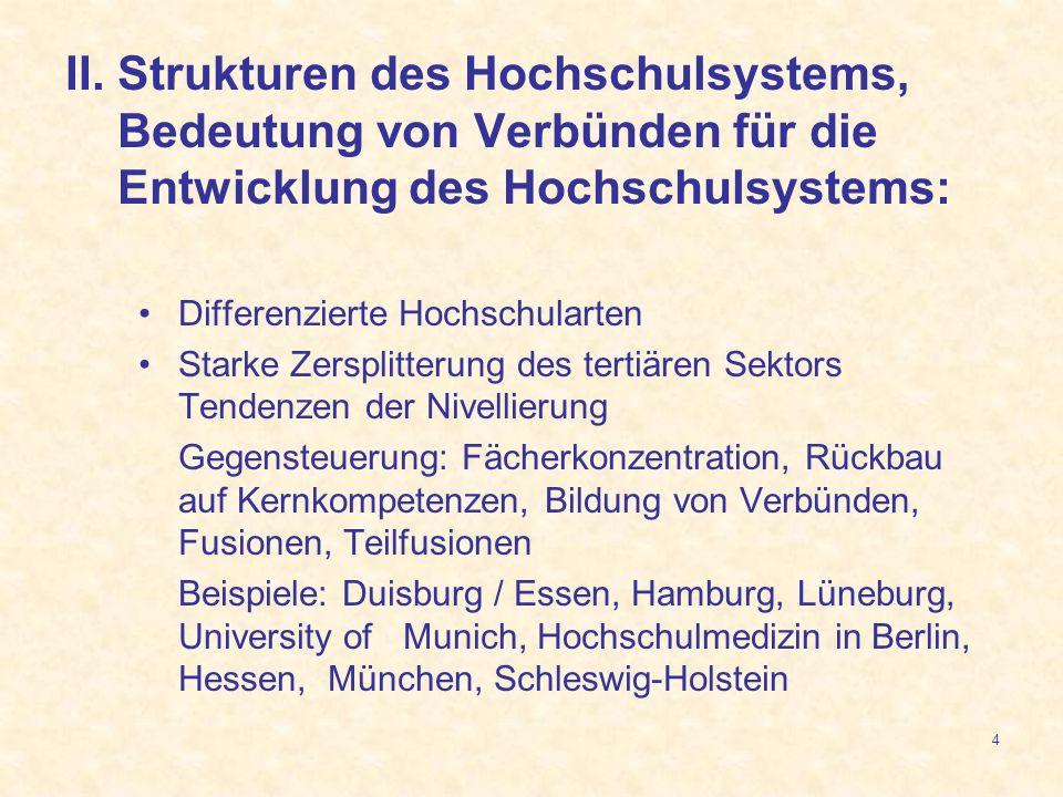 II. Strukturen des Hochschulsystems, Bedeutung von Verbünden für die Entwicklung des Hochschulsystems: