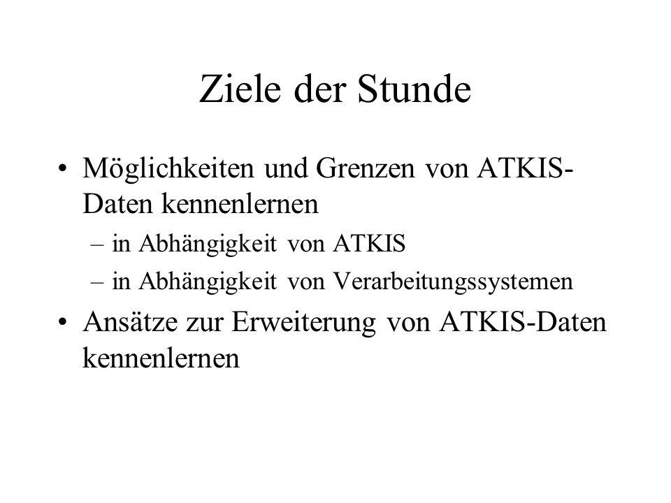 Ziele der Stunde Möglichkeiten und Grenzen von ATKIS-Daten kennenlernen. in Abhängigkeit von ATKIS.