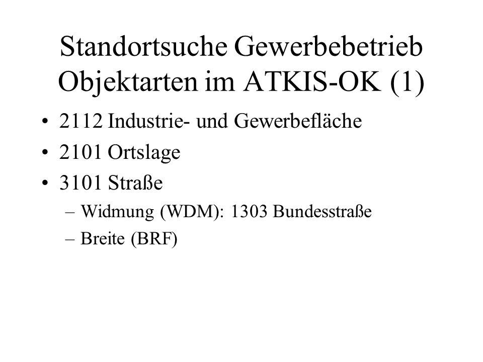 Standortsuche Gewerbebetrieb Objektarten im ATKIS-OK (1)