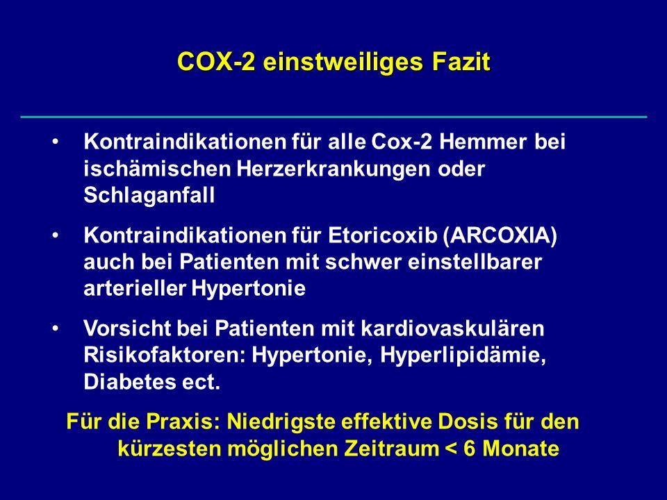 COX-2 einstweiliges Fazit