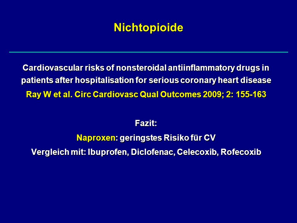 NichtopioideCardiovascular risks of nonsteroidal antiinflammatory drugs in patients after hospitalisation for serious coronary heart disease.