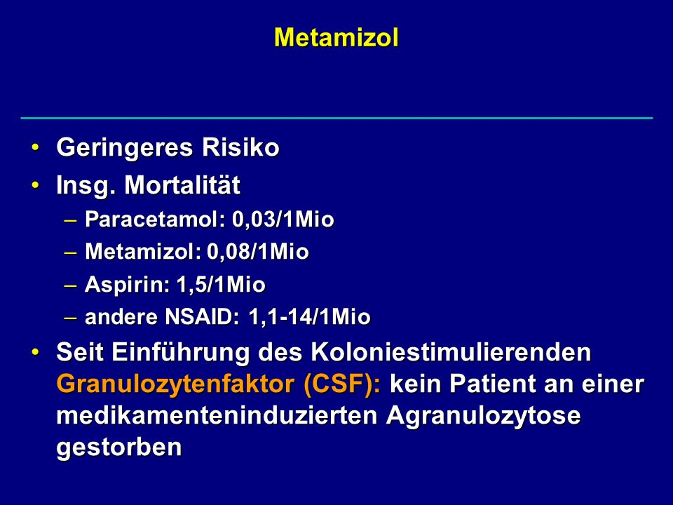 Metamizol Geringeres Risiko Insg. Mortalität