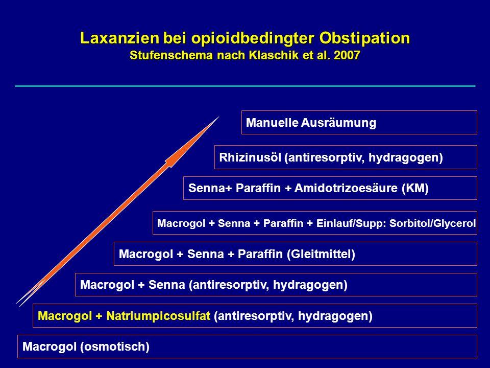 Laxanzien bei opioidbedingter Obstipation Stufenschema nach Klaschik et al. 2007