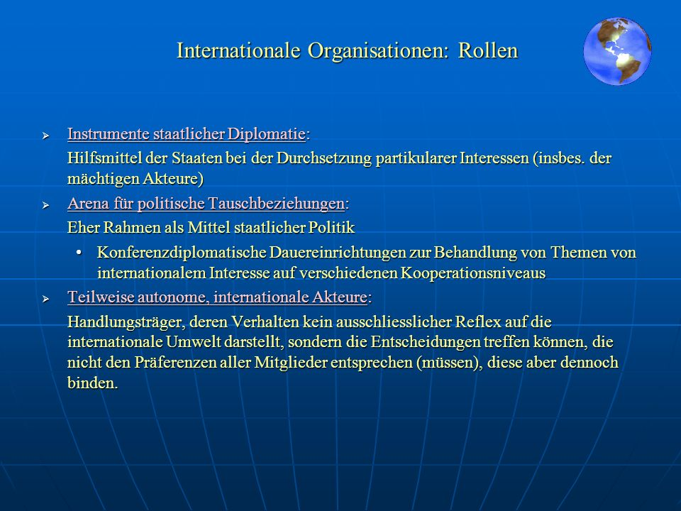 Internationale Organisationen: Rollen