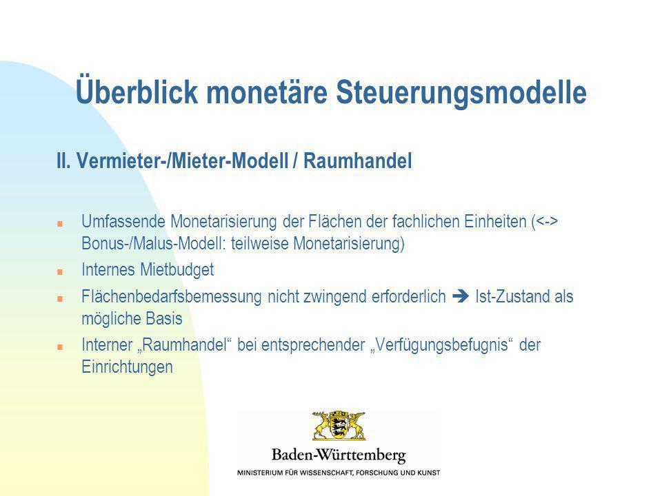 Überblick monetäre Steuerungsmodelle