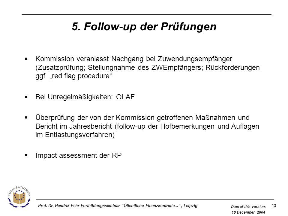 5. Follow-up der Prüfungen
