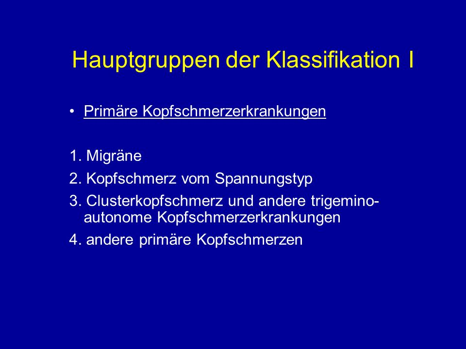 Hauptgruppen der Klassifikation I