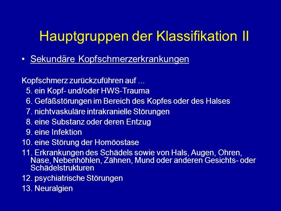 Hauptgruppen der Klassifikation II
