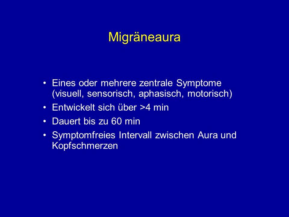 Migräneaura Eines oder mehrere zentrale Symptome (visuell, sensorisch, aphasisch, motorisch) Entwickelt sich über >4 min.
