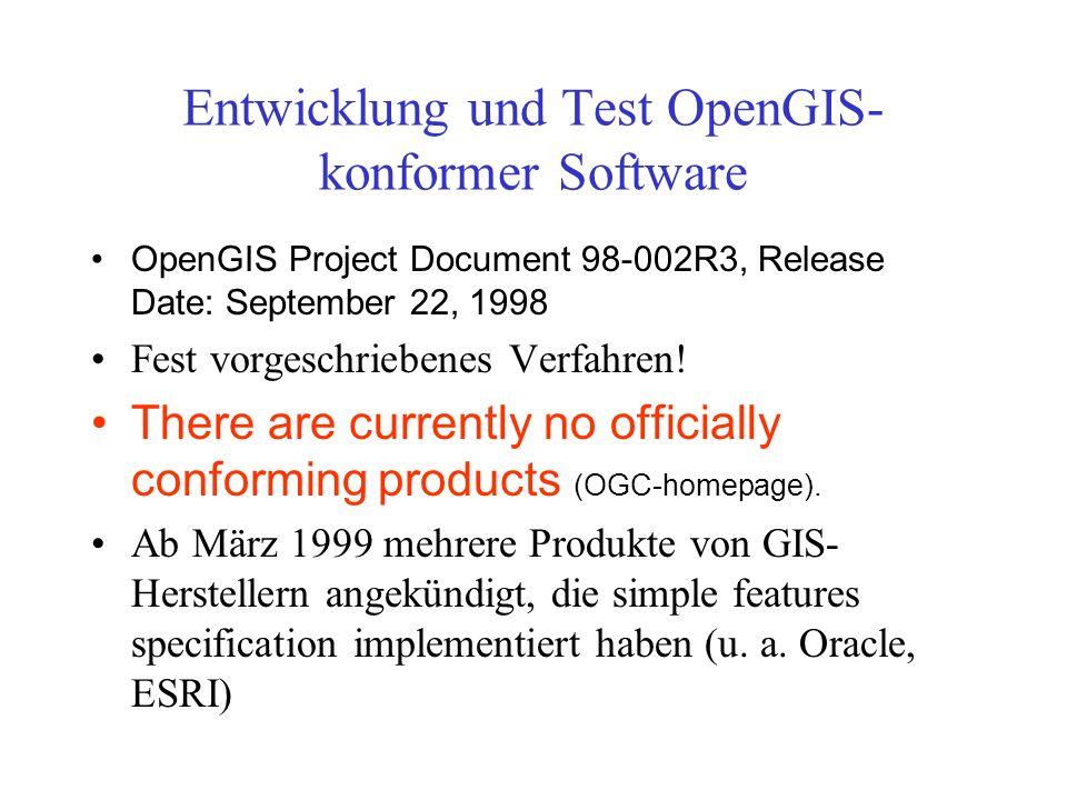 Entwicklung und Test OpenGIS-konformer Software