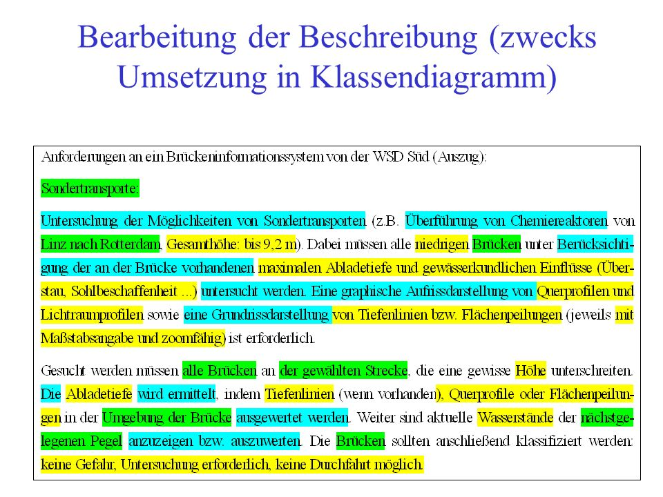 Bearbeitung der Beschreibung (zwecks Umsetzung in Klassendiagramm)