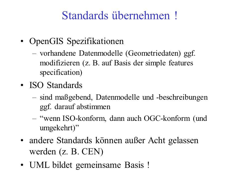 Standards übernehmen ! OpenGIS Spezifikationen ISO Standards