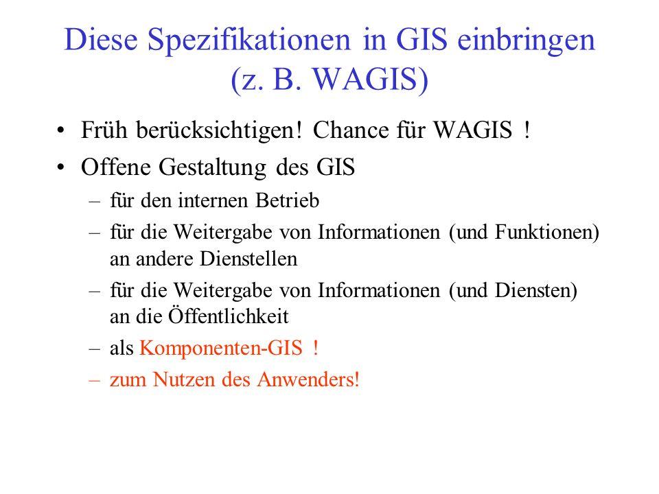 Diese Spezifikationen in GIS einbringen (z. B. WAGIS)