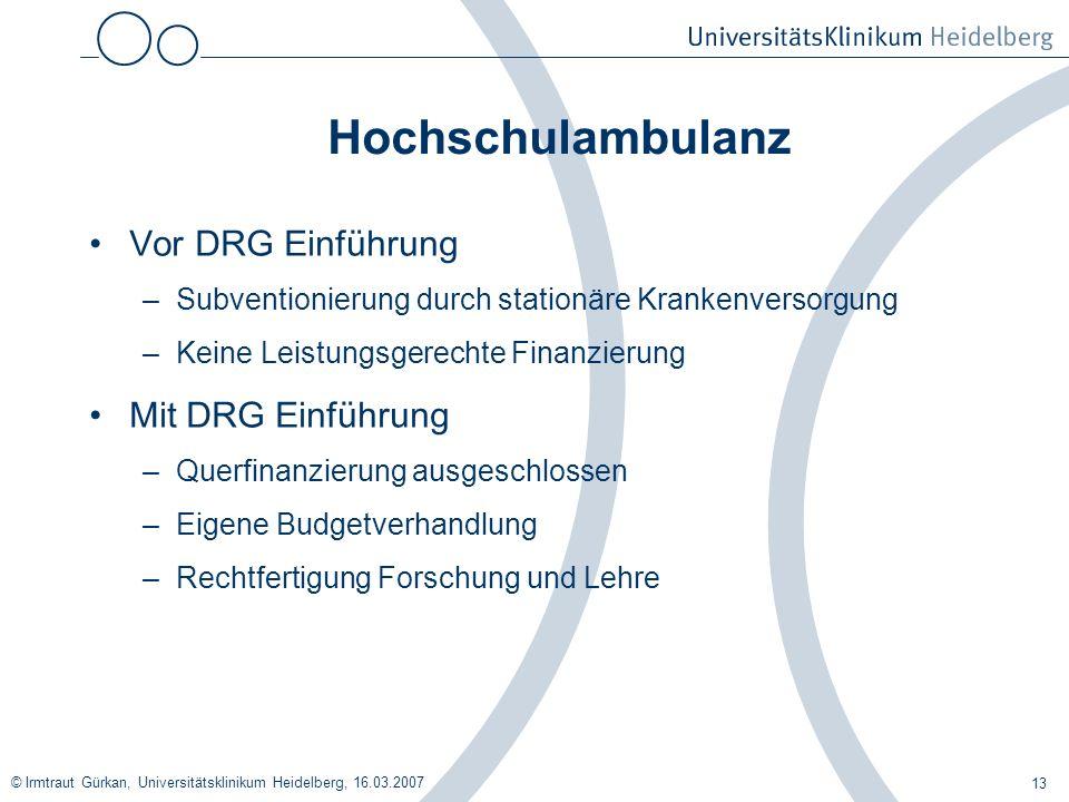 Hochschulambulanz Vor DRG Einführung Mit DRG Einführung
