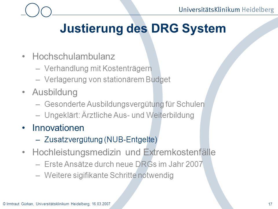Justierung des DRG System