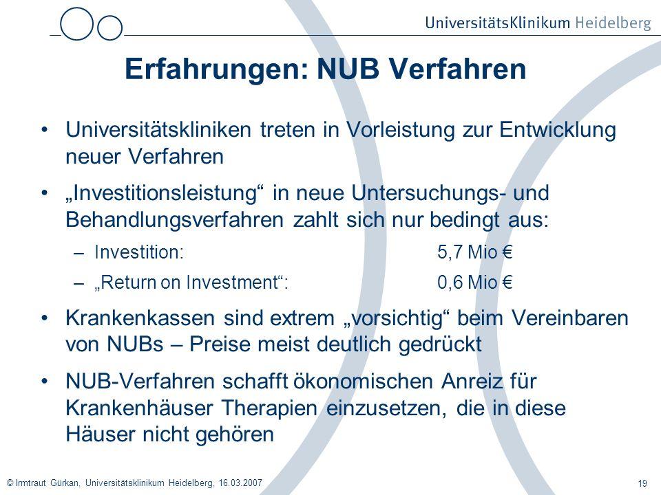 Erfahrungen: NUB Verfahren