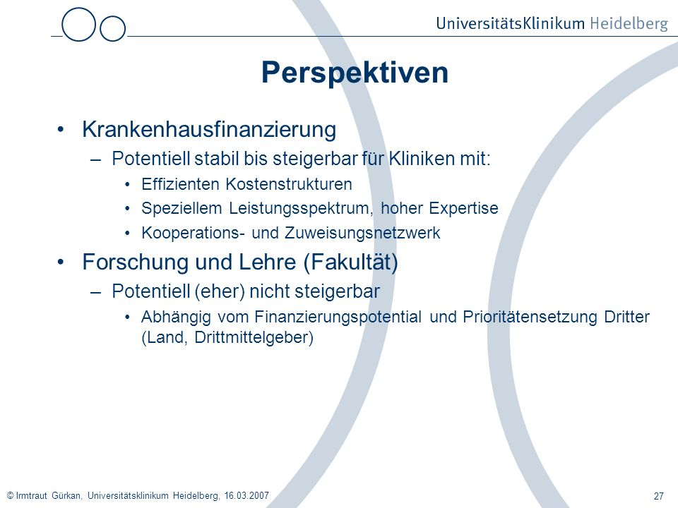 Perspektiven Krankenhausfinanzierung Forschung und Lehre (Fakultät)