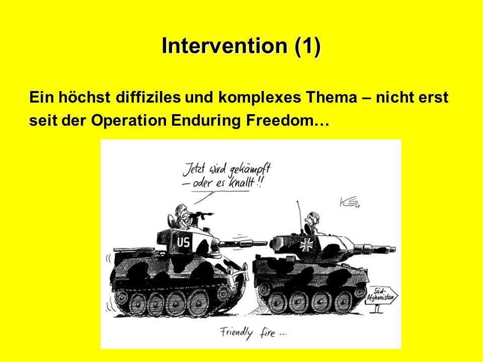 Intervention (1) Ein höchst diffiziles und komplexes Thema – nicht erst.