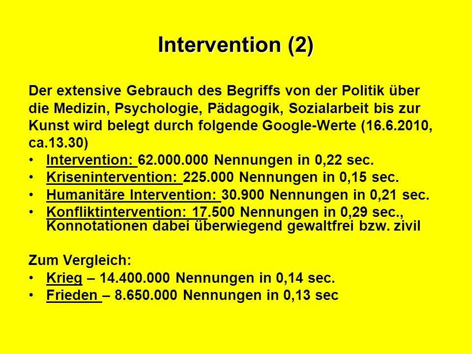 Intervention (2) Der extensive Gebrauch des Begriffs von der Politik über. die Medizin, Psychologie, Pädagogik, Sozialarbeit bis zur.