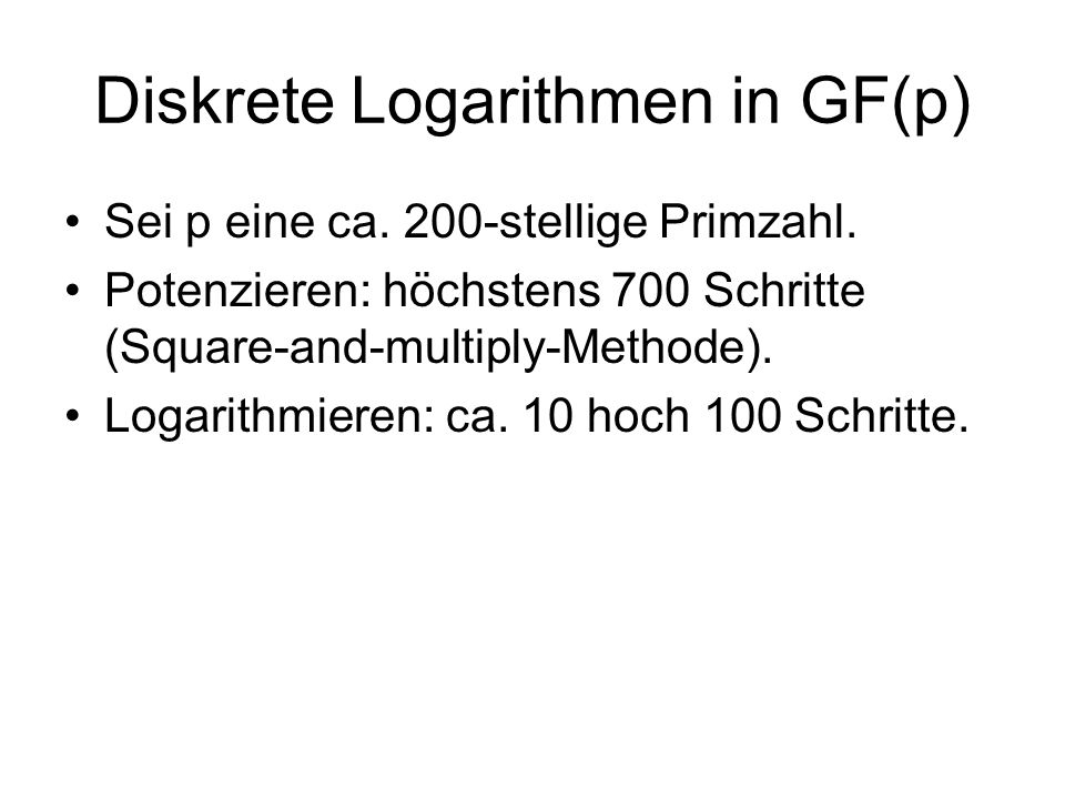 Diskrete Logarithmen in GF(p)