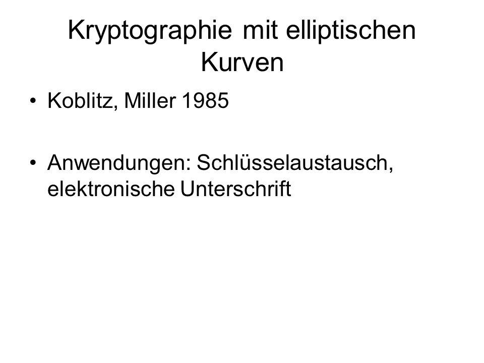 Kryptographie mit elliptischen Kurven