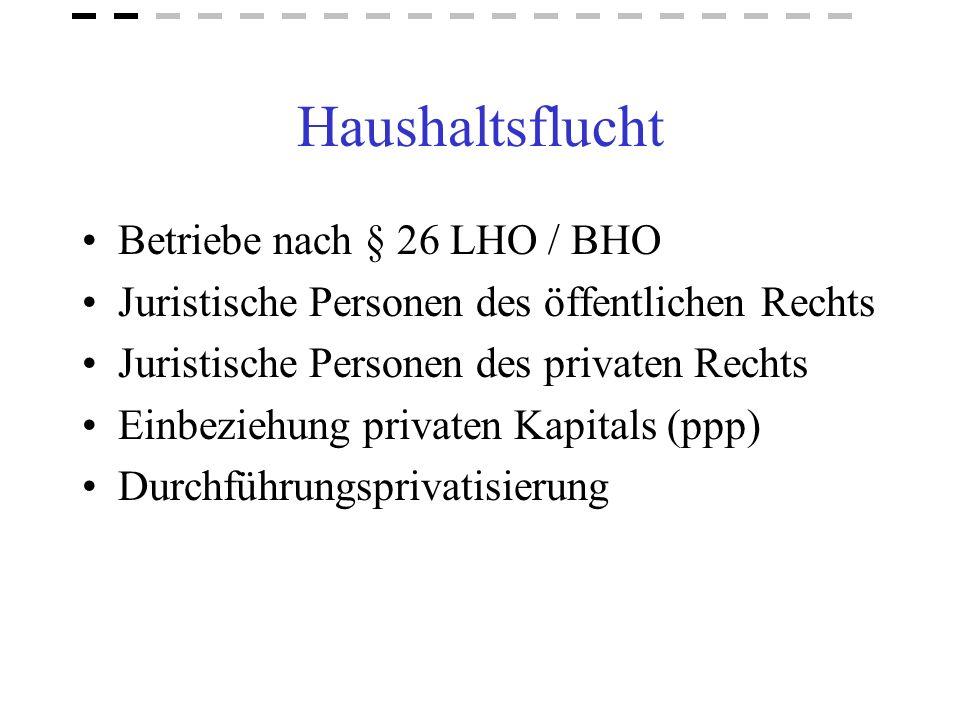 Haushaltsflucht Betriebe nach § 26 LHO / BHO