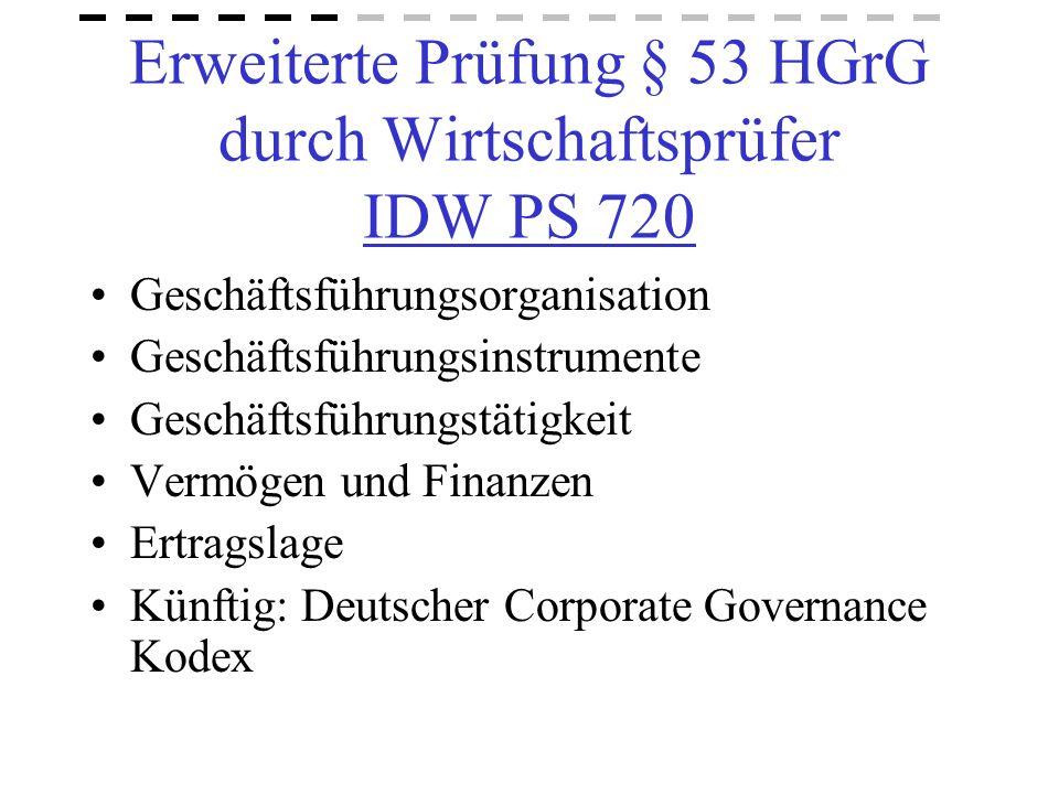 Erweiterte Prüfung § 53 HGrG durch Wirtschaftsprüfer IDW PS 720