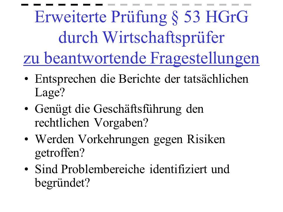 Erweiterte Prüfung § 53 HGrG durch Wirtschaftsprüfer zu beantwortende Fragestellungen