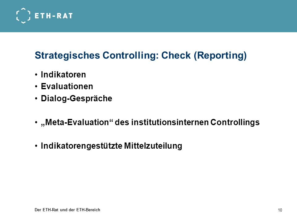 Strategisches Controlling: Check (Reporting)