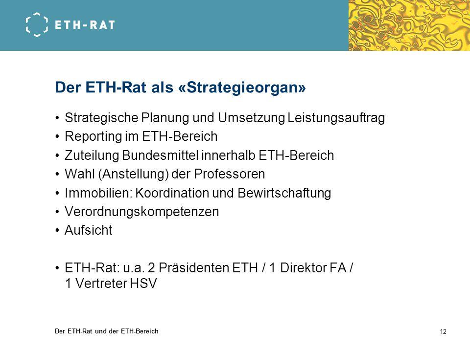 Der ETH-Rat als «Strategieorgan»