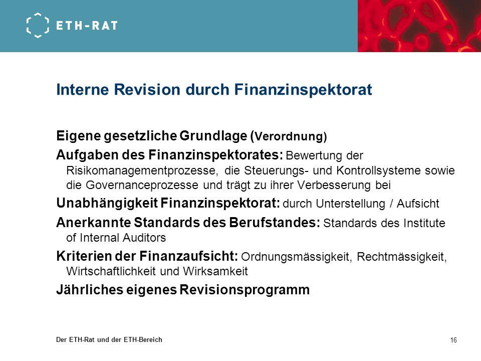 Interne Revision durch Finanzinspektorat