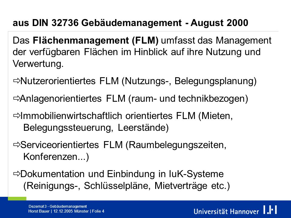 aus DIN 32736 Gebäudemanagement - August 2000