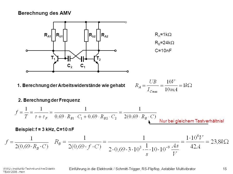 Berechnung des AMV RA1 C2 RA2 Rb2 Rb1 C1 T1 T2 RA=1k RB=24k C=10nF
