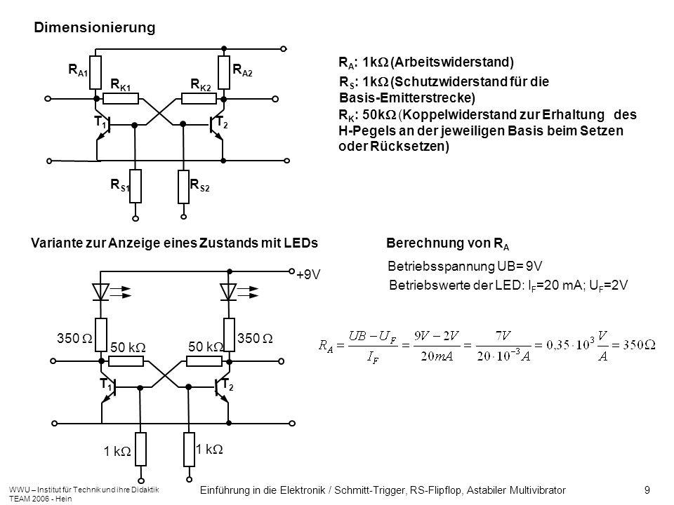 Dimensionierung T1 T2 RA: 1k (Arbeitswiderstand) RA1 RA2 RK1 RK2