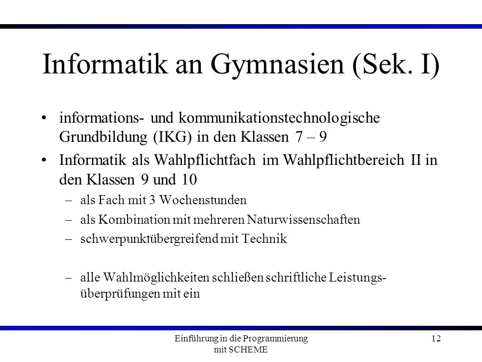 Informatik an Gymnasien (Sek. I)