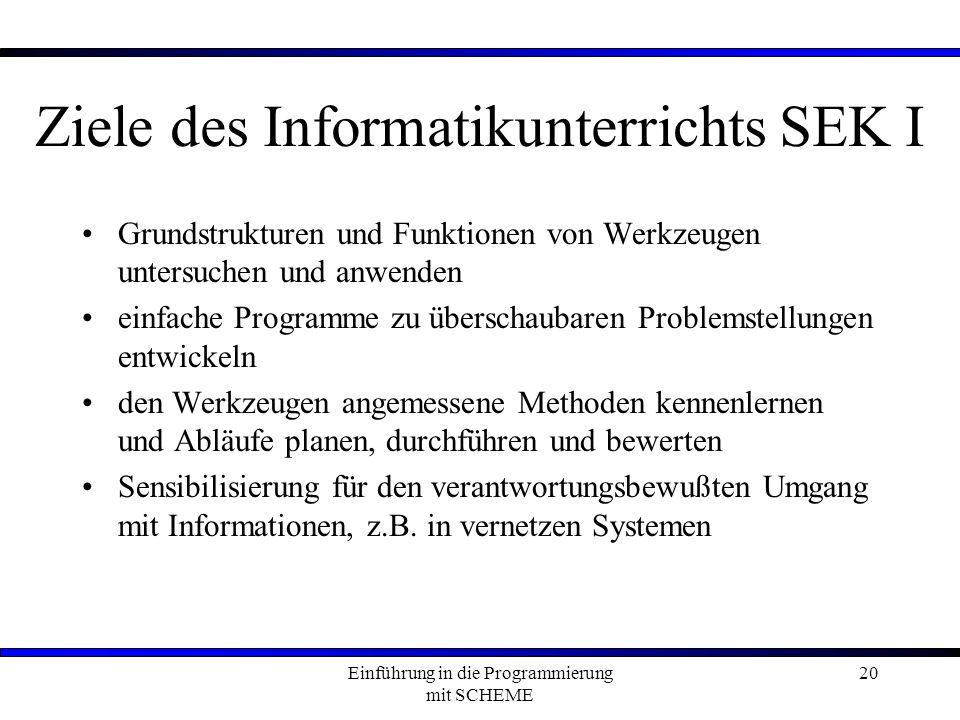 Ziele des Informatikunterrichts SEK I