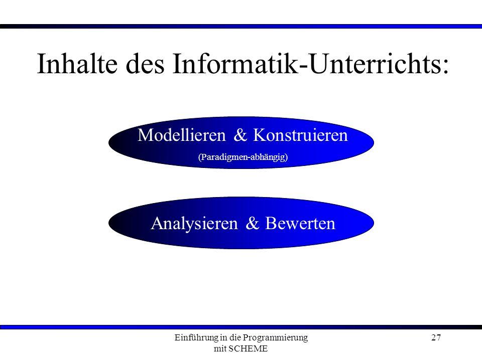 Inhalte des Informatik-Unterrichts: