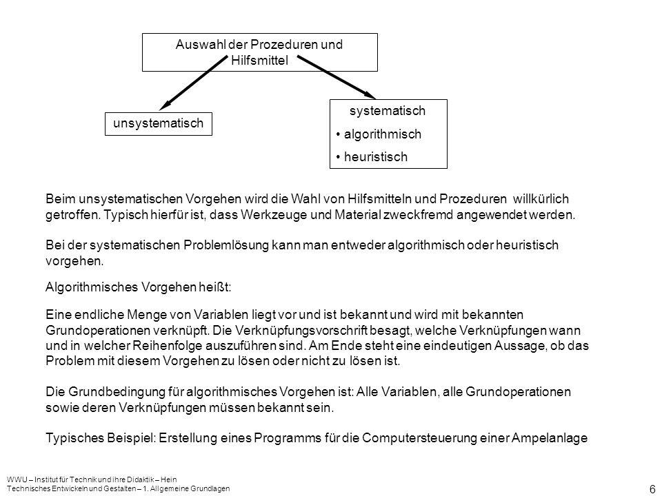 Auswahl der Prozeduren und Hilfsmittel