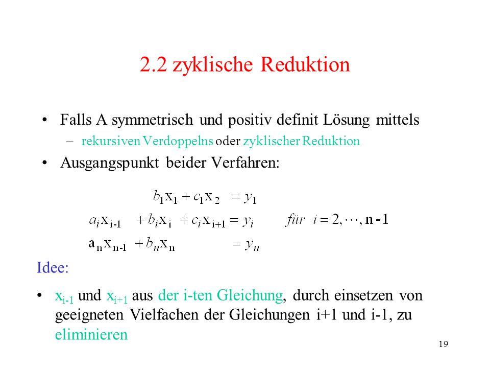 2.2 zyklische Reduktion Falls A symmetrisch und positiv definit Lösung mittels. rekursiven Verdoppelns oder zyklischer Reduktion.
