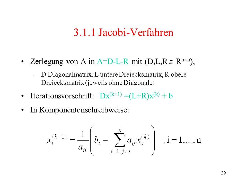3.1.1 Jacobi-Verfahren Zerlegung von A in A=D-L-R mit (D,L,R Rnn),