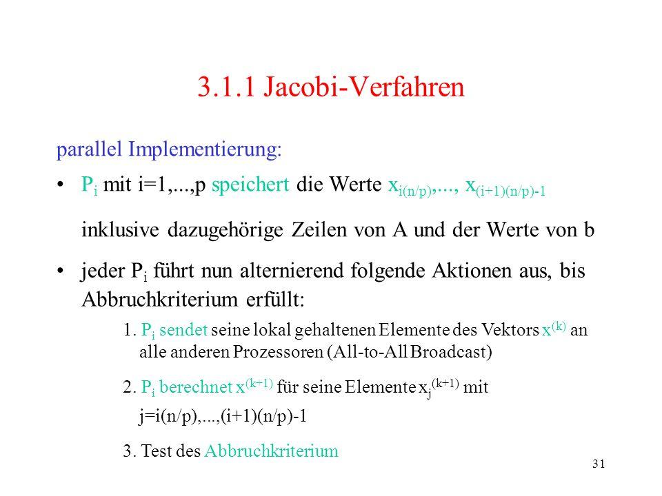 3.1.1 Jacobi-Verfahren parallel Implementierung: