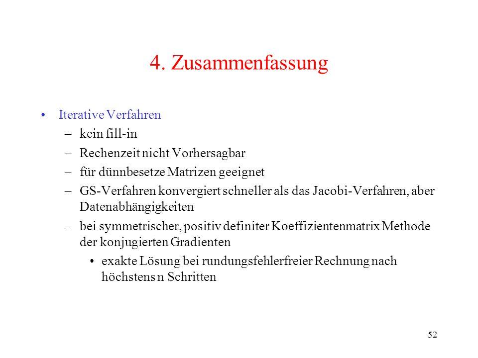 4. Zusammenfassung Iterative Verfahren kein fill-in
