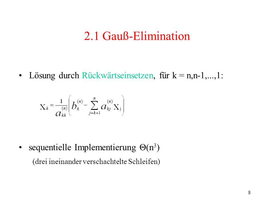 2.1 Gauß-Elimination Lösung durch Rückwärtseinsetzen, für k = n,n-1,...,1: sequentielle Implementierung Θ(n3)
