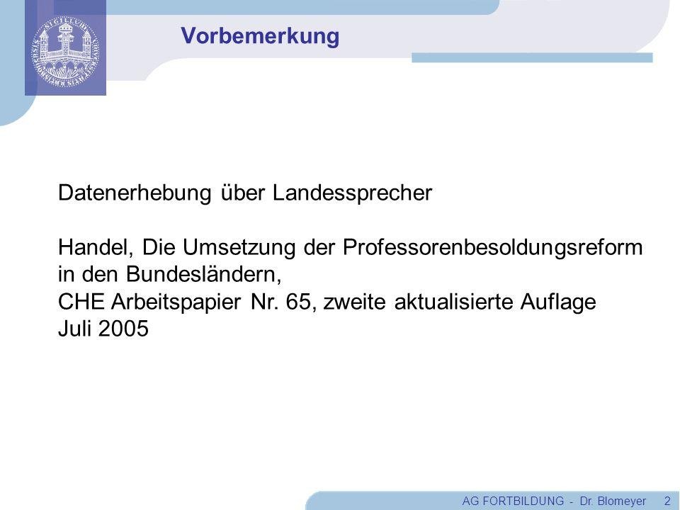 Vorbemerkung Datenerhebung über Landessprecher. Handel, Die Umsetzung der Professorenbesoldungsreform.