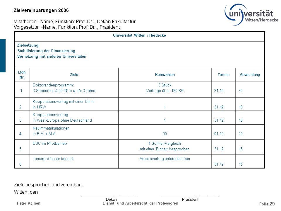 Universität Witten / Herdecke Dienst- und Arbeitsrecht der Professoren