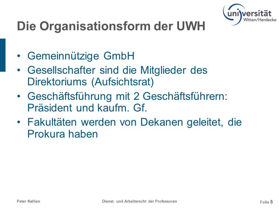 Die Organisationsform der UWH