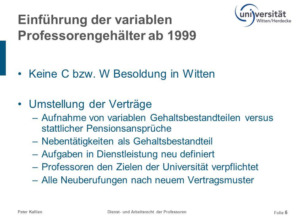 Einführung der variablen Professorengehälter ab 1999