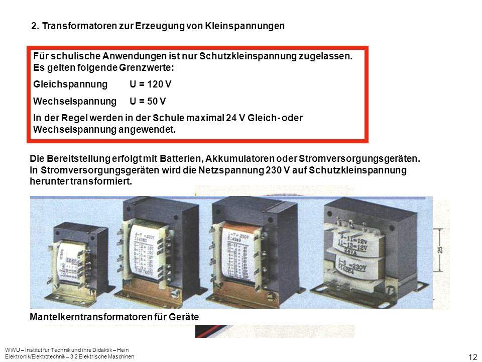 2. Transformatoren zur Erzeugung von Kleinspannungen