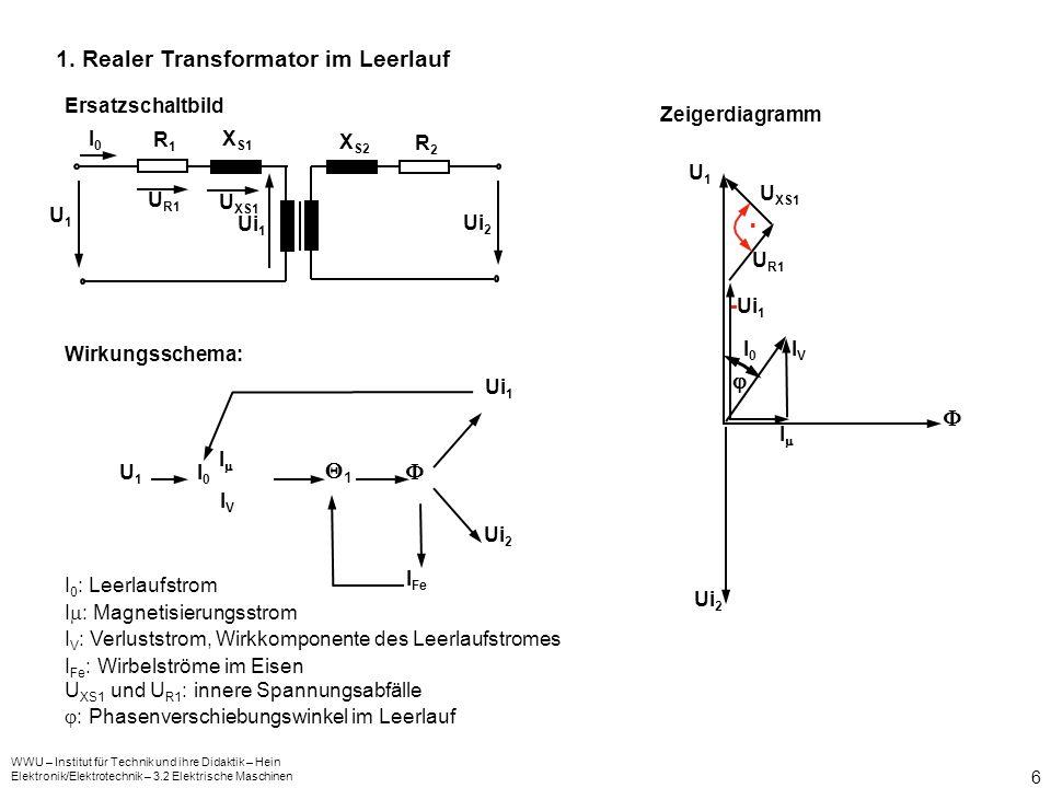 . 1. Realer Transformator im Leerlauf   1  Ersatzschaltbild