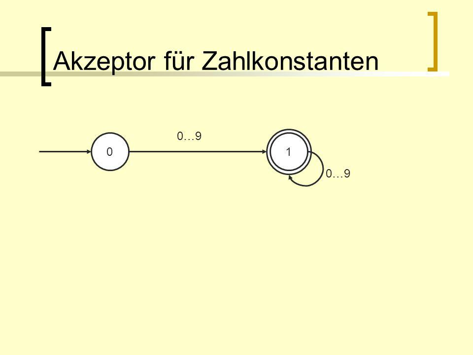 Akzeptor für Zahlkonstanten